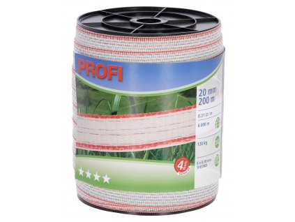 Vodič páska PROFI, 20mm, 200m, bílá-červená