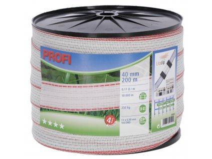 Vodič páska PROFI, 40mm, 200m, bílá-červená