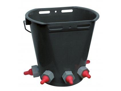 Kyblík napájecí pro jehňata s 5ti krátkými, červenými dudlíky, objem 10 l