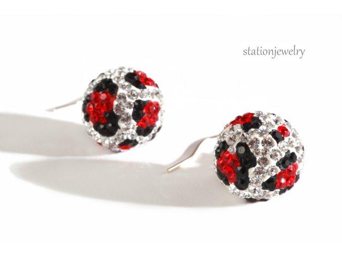 Náušnice Leopard s krystaly SWAROVSKI / Earrings Leopard Ball Light Siam
