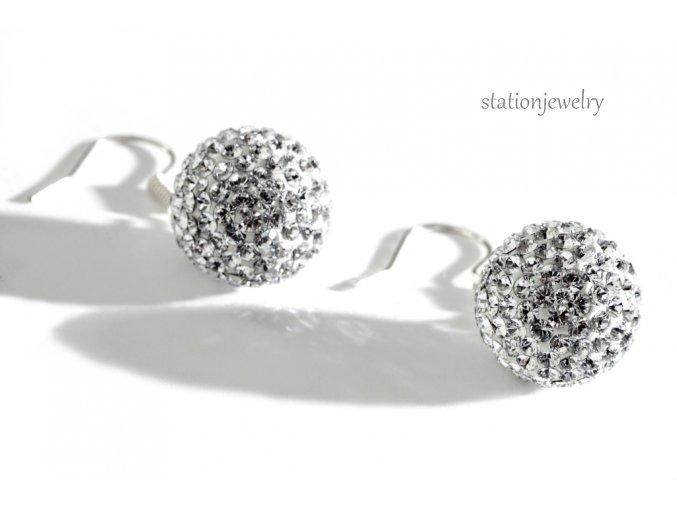Náušnice kuličky s krystaly SWAROVSKI / Earrings sparkly Ball Crystal
