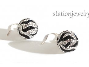 Náušnice třpytivé kuličky Zebra / Earrings sparkly Ball Zebra
