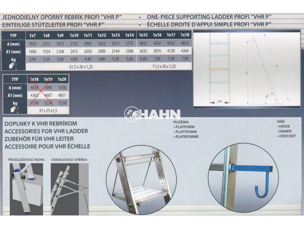 Jednodílný hliníkový žebřík VHR 1x15