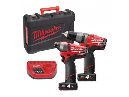 MILWAUKEE 2-dílný PowerPack M12 PP2A-402C - M12 CPD + M12 CID  + +  pro REGISTROVANÉ NOVĚ 3% dolů!