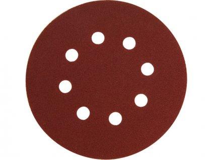 Papír brusný výsek, suchý zip, bal. 10ks, 150mm, P80, 8 otvorů EXTOL PREMIUM