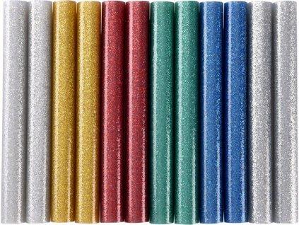 Tyčinky tavné, mix barev se třpytem (glitter), pr.11x100mm, 12ks, EXTOL CRAFT