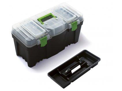 """Plastový box na nářadí 23,5"""", nosnost 21 kg, GREEN BOX, poškozené víko a panty Prosperplast"""