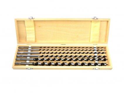 Vrtáky hadovité do dřeva, 6ks, dřevěná kazeta, 460mm, 6-18mm, GEKO