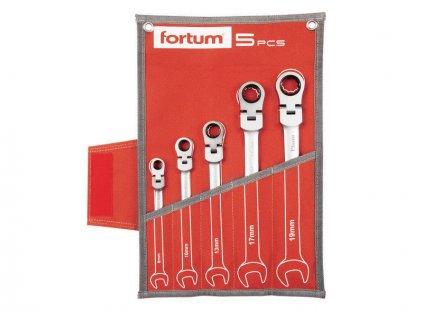 Klíče ráčnové očkoploché, sada 5ks, 8-10-13-17-19mm, CrV / S2, FORTUM