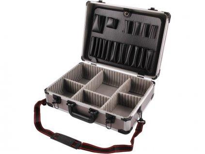 Kufr na náradie hlíníkový, 450x330x150mm, šedá farba, EXTOL CRAFT