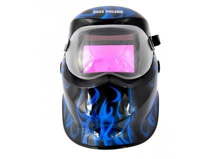 Zváracia kukla samostmievacie čierna + modré plamene, BASS