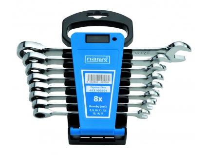 Sada kľúčov 8dielna ráčnových plast. držiak DIN3113, Narex, 443100594