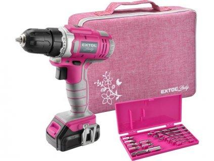 Vŕtací skrutkovač aku, ružový, 12V Li-ion, 1300mAh, sada v taške, EXTOL LADY 402401