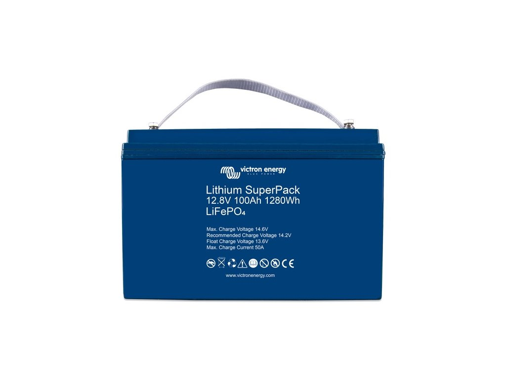 6414 O victron energy lithium superpack 12 8v 100ah 1280wh front kopie