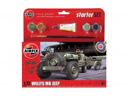 Starter Set military A55117 - Willys MB Jeep (1:72)