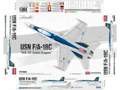 "Model Kit letadlo 12564 - USN F/A-18C ""VFA-192 Golden Dragons"" (1:72)"