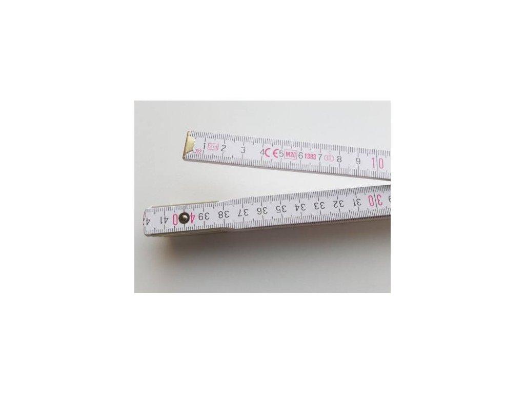 Metr skládací dřevěný PROFI, CE, bílý, 2 m