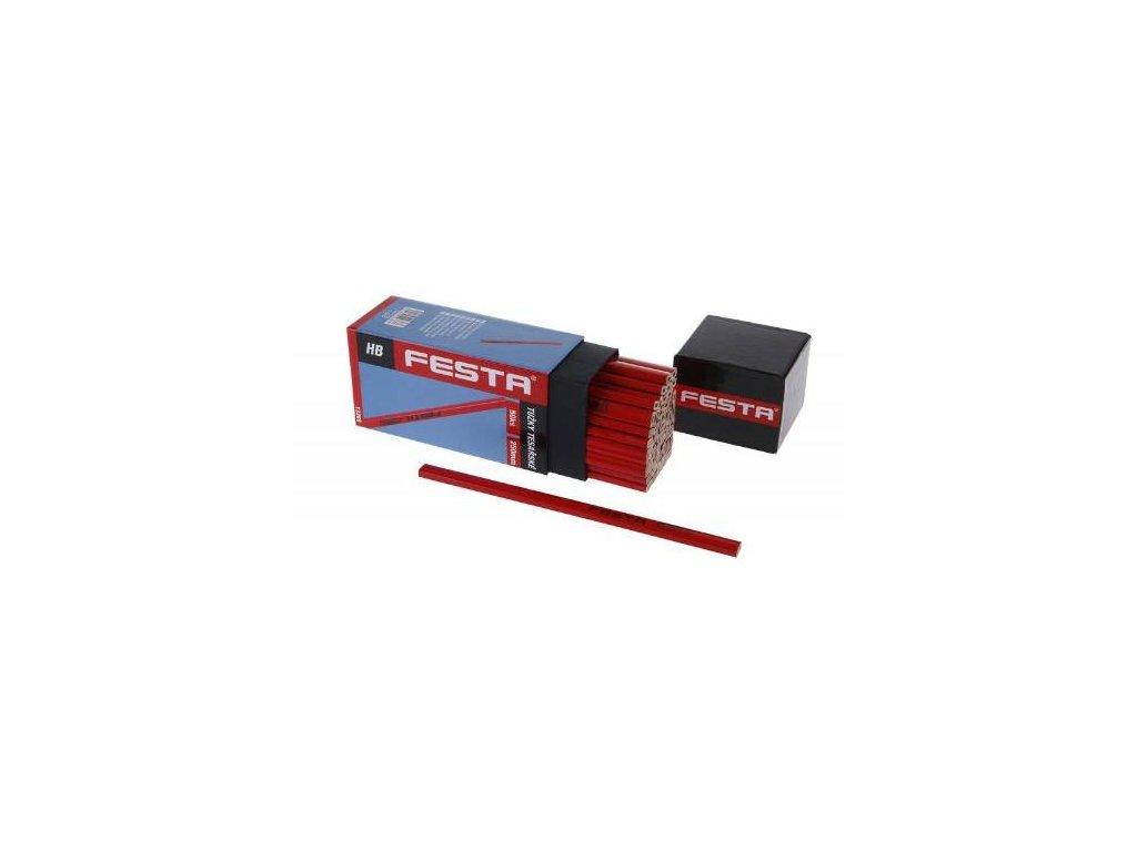 Tužka tesařská HB, červený lak, 250 mm, v krabičce, FESTA