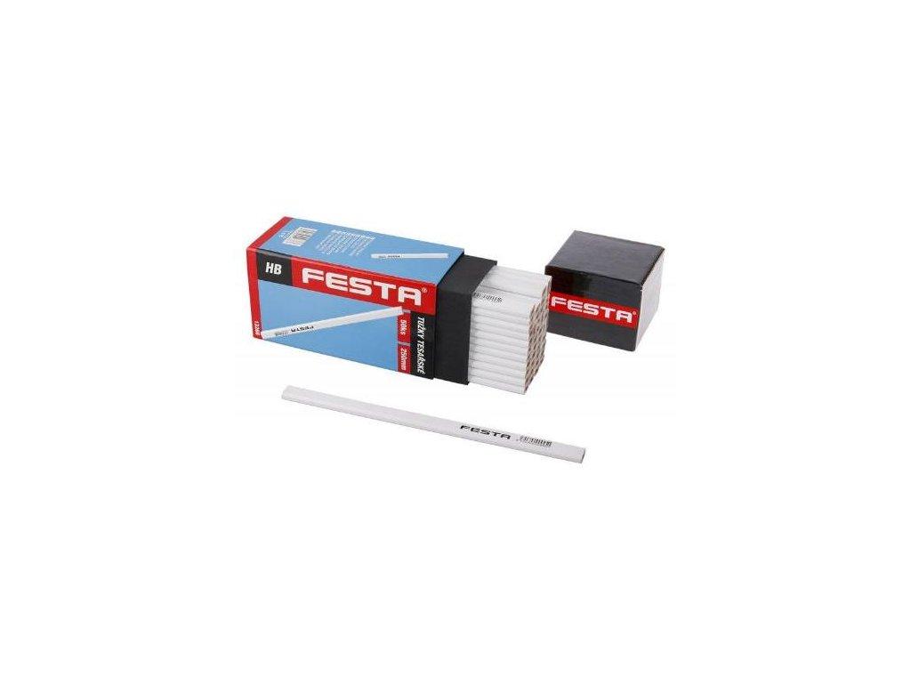 Tužka tesařská HB, 250 mm, bílý lak, v krabičce, FESTA