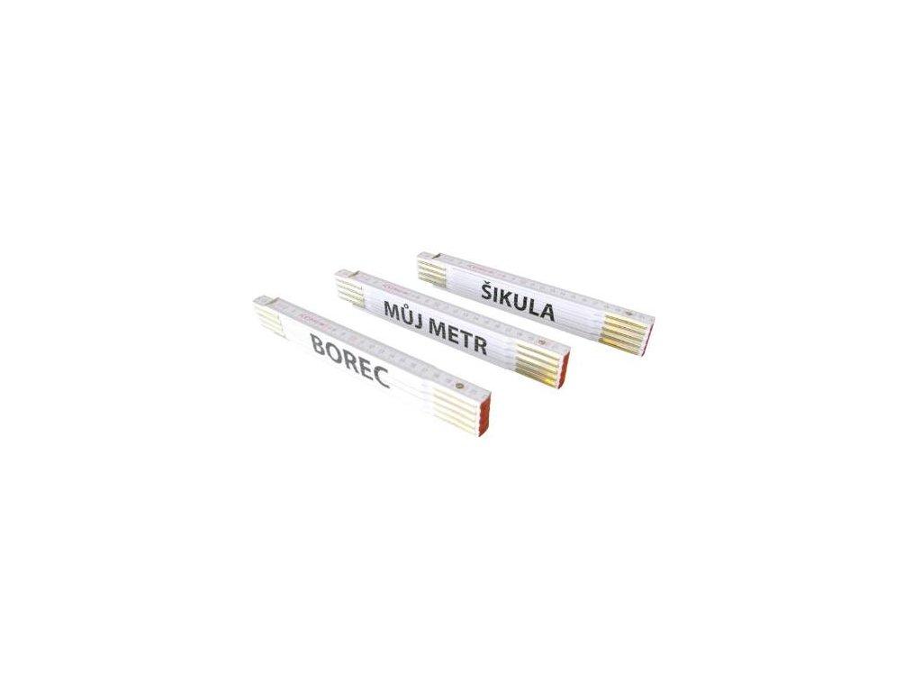 Metr skládací dřevěný PROFI, CE, MŮJ METR, bílý, 2 m