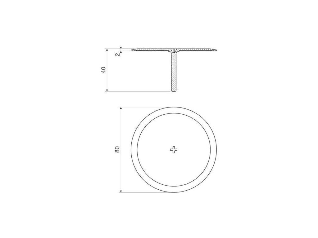 Víčko s trnem KO 68 HB, šroubovací, 80 mm, KOPOS