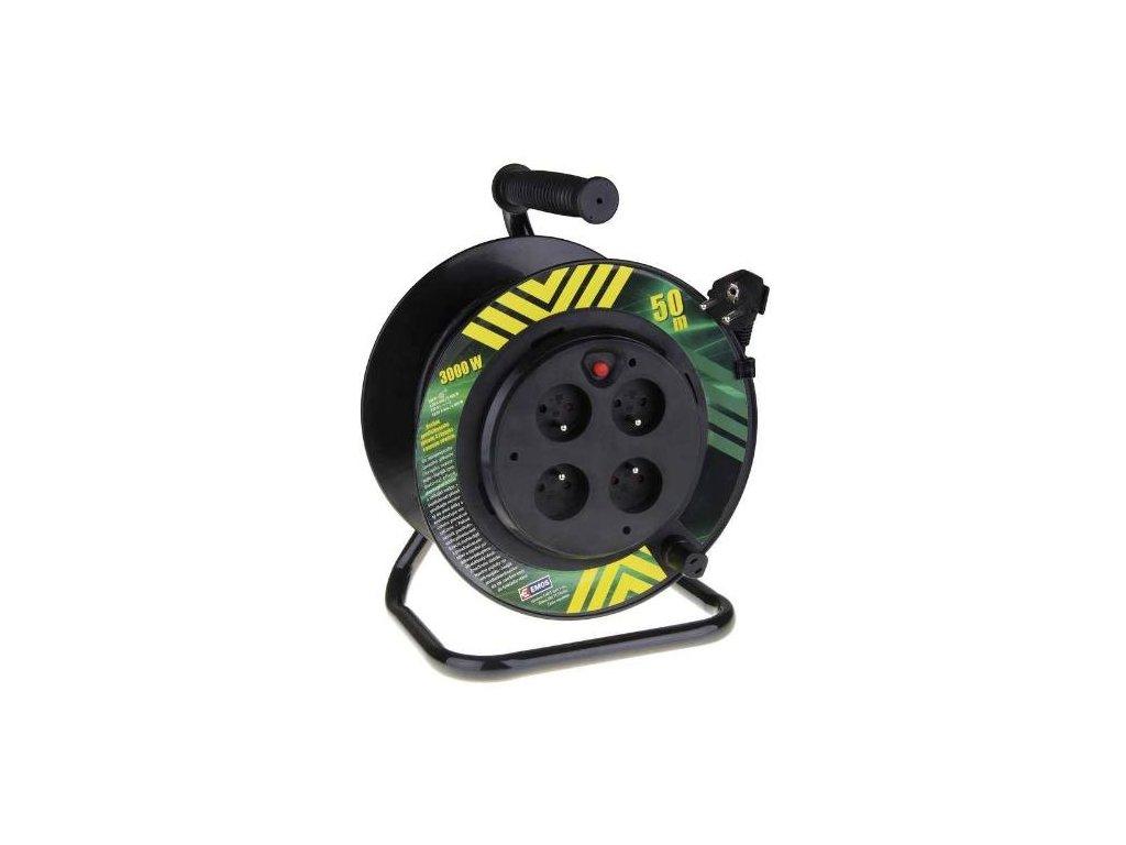 Kabel prodlužovací, 50m / 230V, cívka, 4 zásuvky, pevný střed