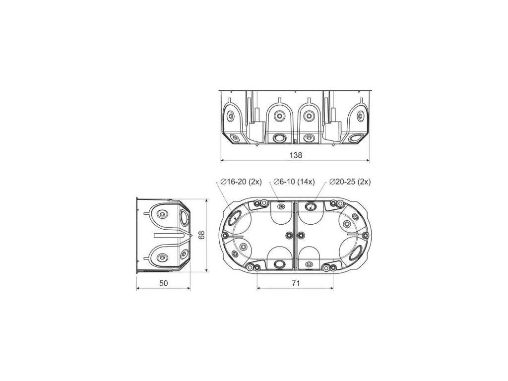 Krabice KPL64-50/2LD do dutých stěn