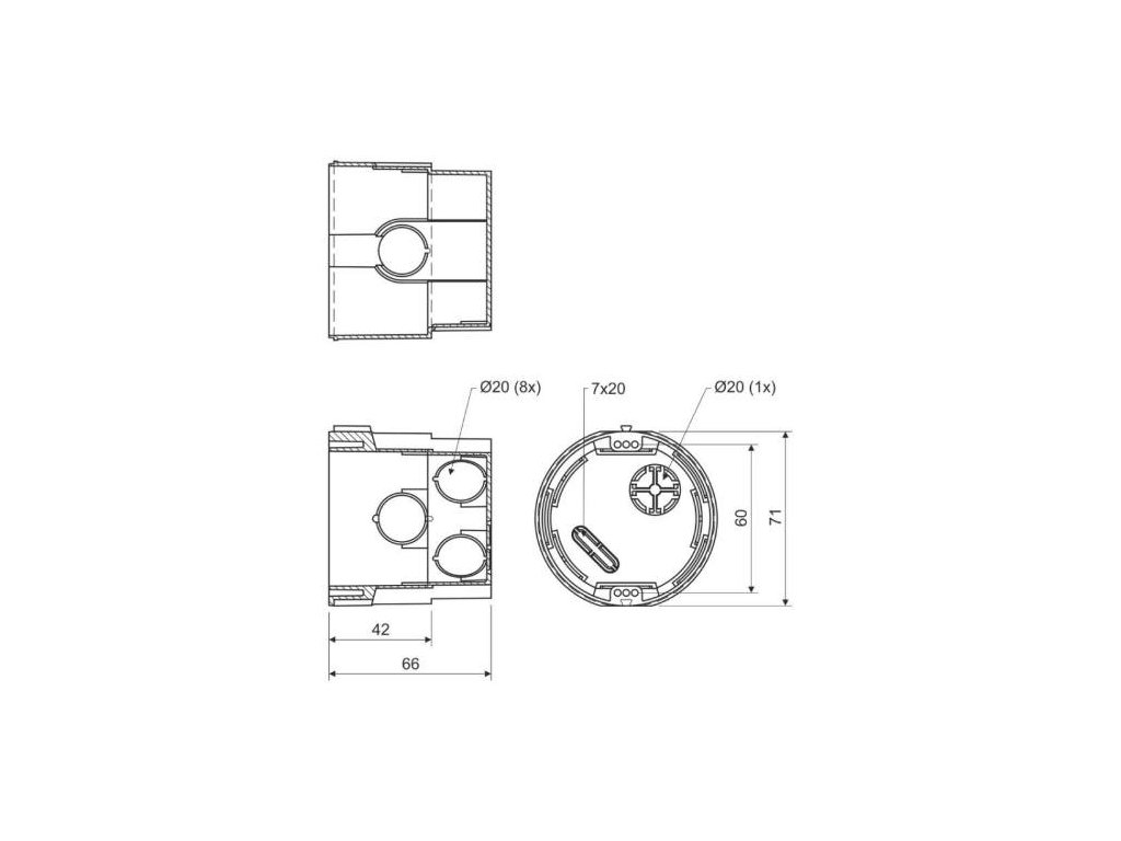 Krabice KPR 68, 73 x 66mm