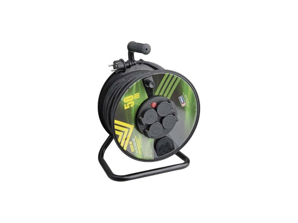 Kabel prodlužovací, 25m / 230V, cívka, 4 zásuvky, guma