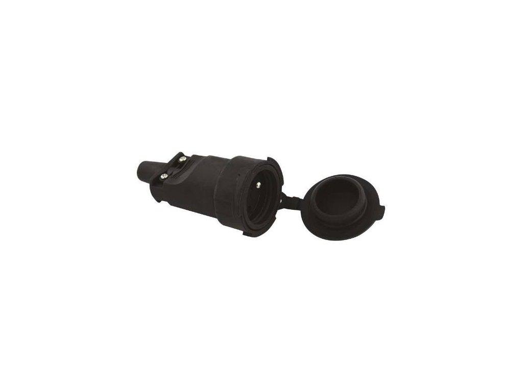 Zásuvka gumová, 250V / 16A max., černá