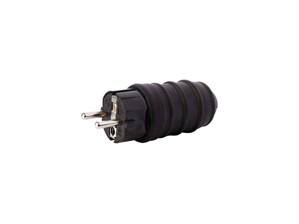 Vidlice gumová přímá, 250V / 16A max., černá