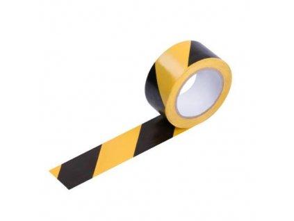 Páska výstražná samolepicí PVC, 49 mm x 33 m černo-žlutá