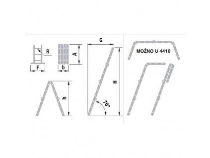 Žebřík kloubový, P 4 x 3 příčky, 0,95 m, 1,70 m, 3,29 m, ALVE 4410