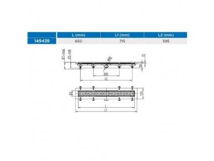 Žlab podlahový lineární 650 mm, D 40 mm, boční, drops mat, ENPRO