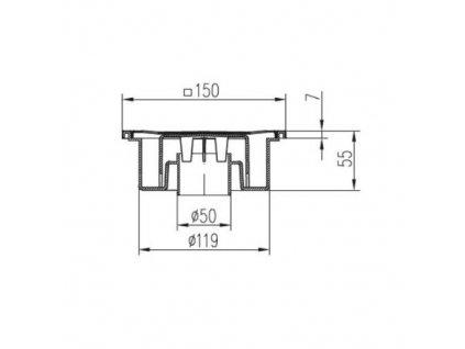 Vpusť podlahová spodní D 50 / 55 mm, bílá, ENPRO