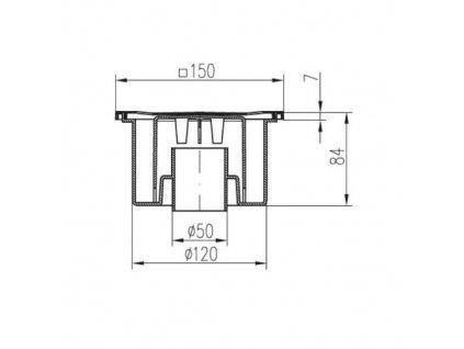 Vpusť podlahová spodní D 50 / 84 mm, bílá, ENPRO