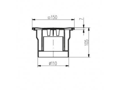 Vpusť podlahová spodní D 110 mm, černá, ENPRO