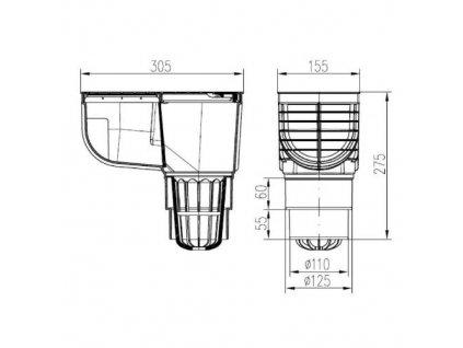 Lapač střešních splavenin přímý DN Ø 125/110 mm, černá