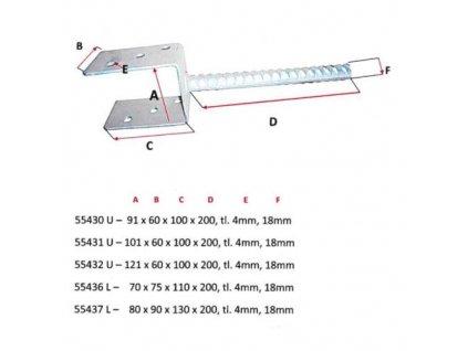 Patka sloupku U, 70 x 60 x 100 x 200 mm