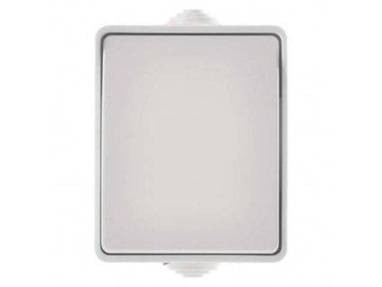 Přepínač nástěnný IP54, jednotlačítkový, bílý