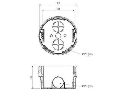 Krabice KP 68, 73 x 42mm