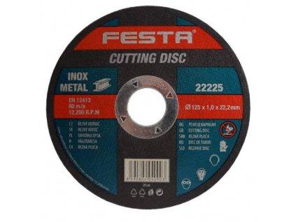 Kotouč na kov řezný Ø 115 x 1,0 x 22,2 mm, FESTA
