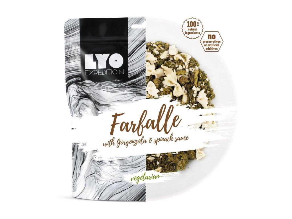 lyo food těstoviny Farfalle s gorgonzolou a špenátem 1