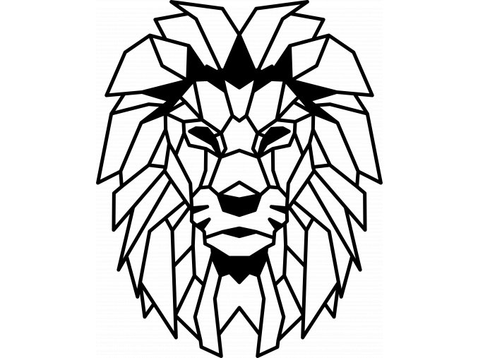 Geometric lion head wall art