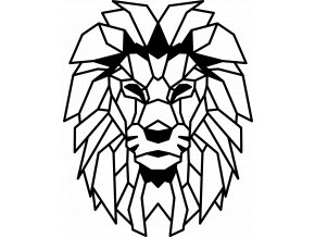 Geometric lion head wall art