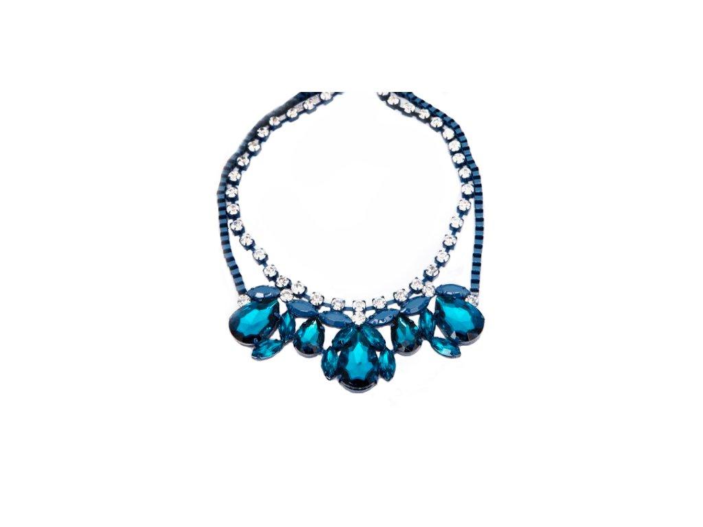 23ea72d17 Dámsky náhrdelník na krk, azúrová farba, akrylové kryštaly, bižutéria