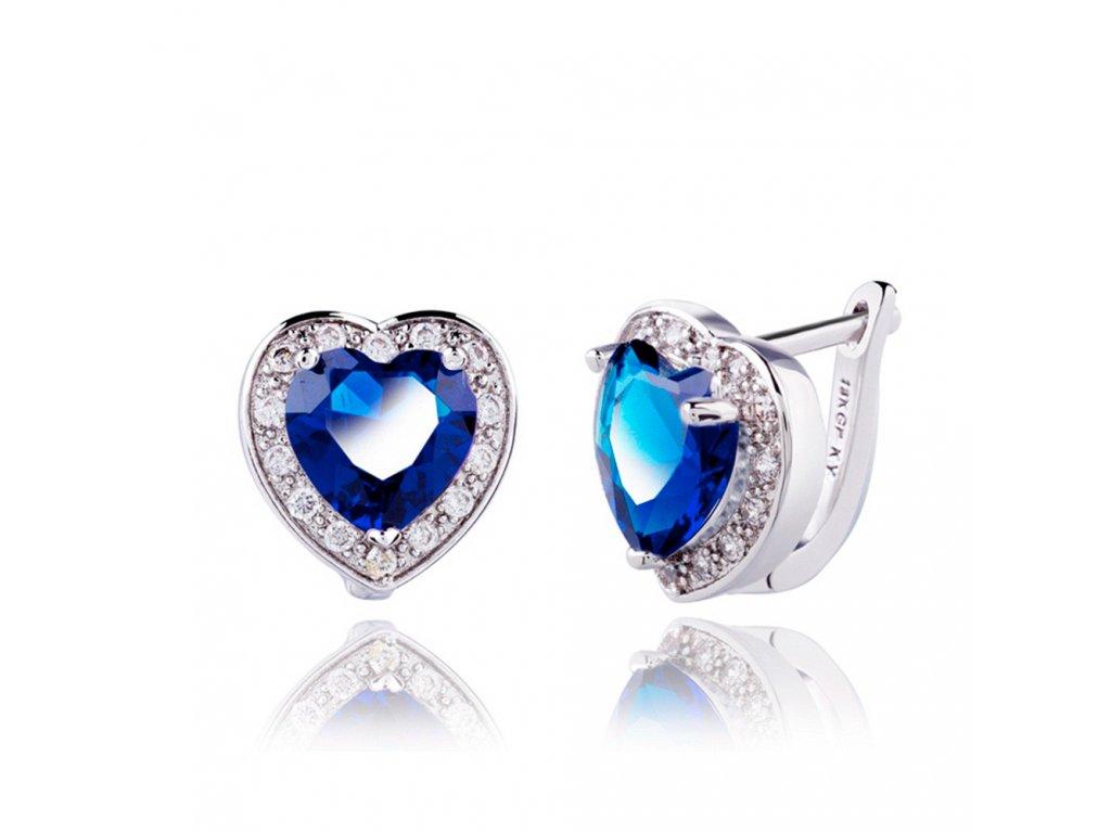 8dec75615 Dámske náušnice so zirkónmi, kráľovsky modré srdce, bižutéria
