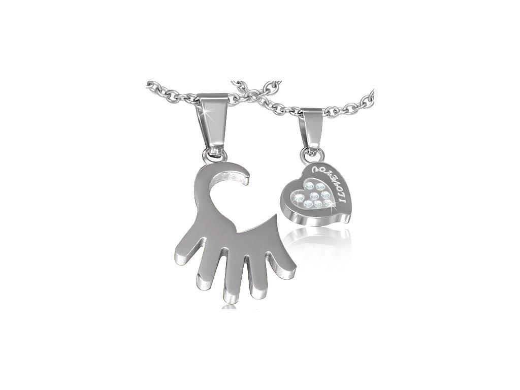 d6c87a97f Prívesok pre zamilovaných, srdce a dlaň z chirurgickej ocele so zirkónmi