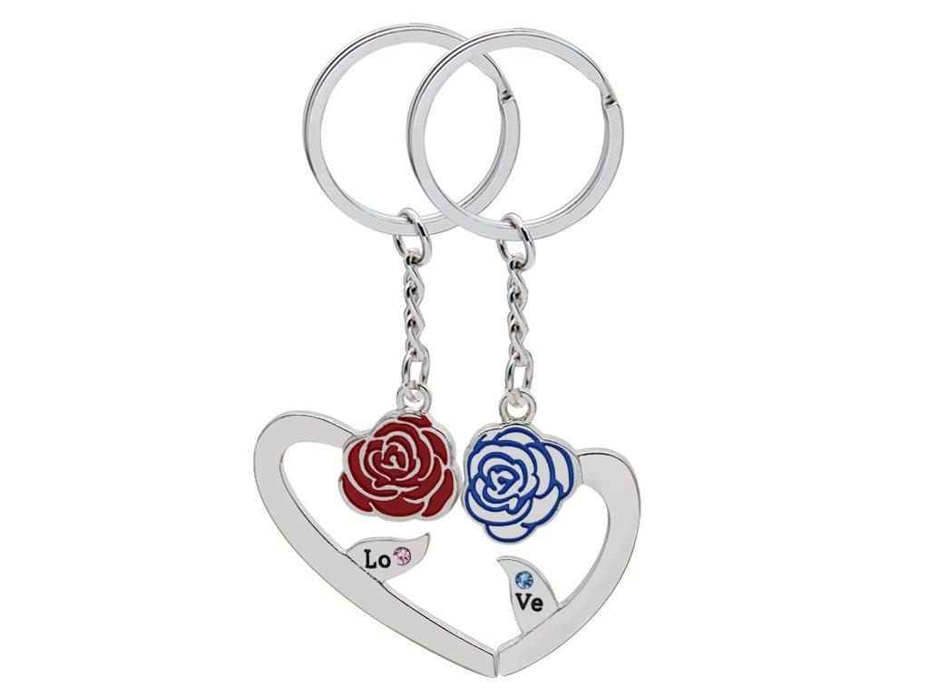 8fee82b50 Prívesky na kľúče pre dvoch, srdce a ruže, nápis