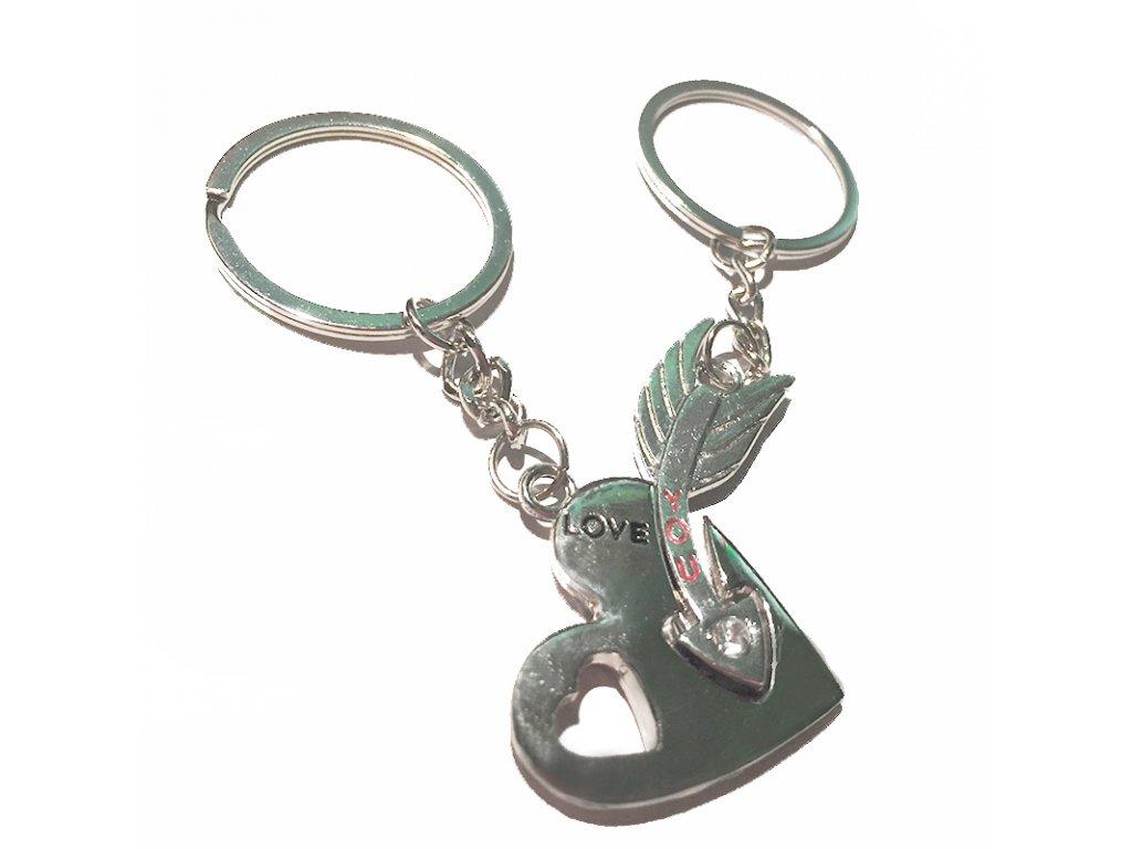 df866435f Kľúčenky pre dvoch, srdce a šíp, nápis